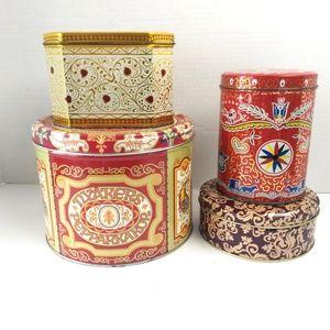 Vintage / Modern Tins Lot Red Gold Decorative